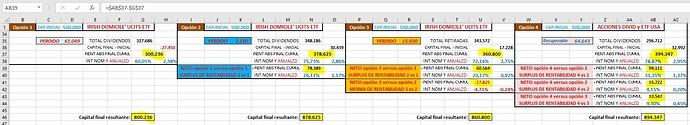 Excel 4 opciones en base a 500.000 iniciales y resto condiciones iguales