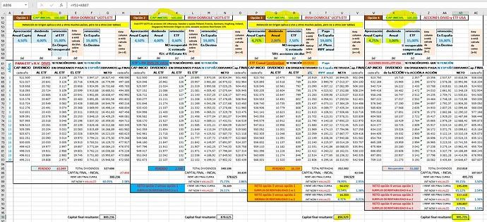 Excel 4 opciones en base a 500.000 iniciales y variando condiciones opciones 3 y 4