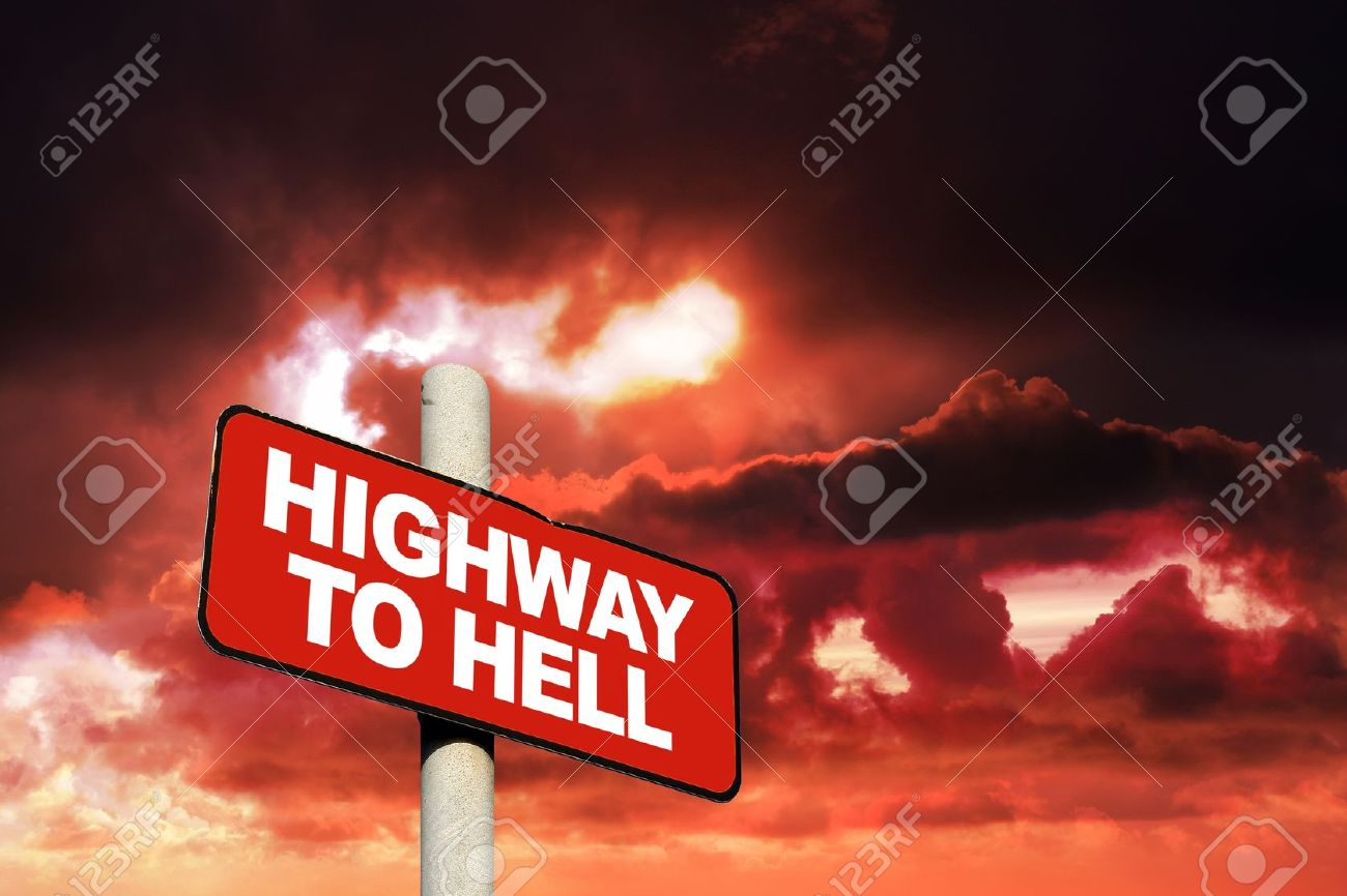 14229012-Highway-to-hell-sign-against-a-red-sky-Stock-Photo